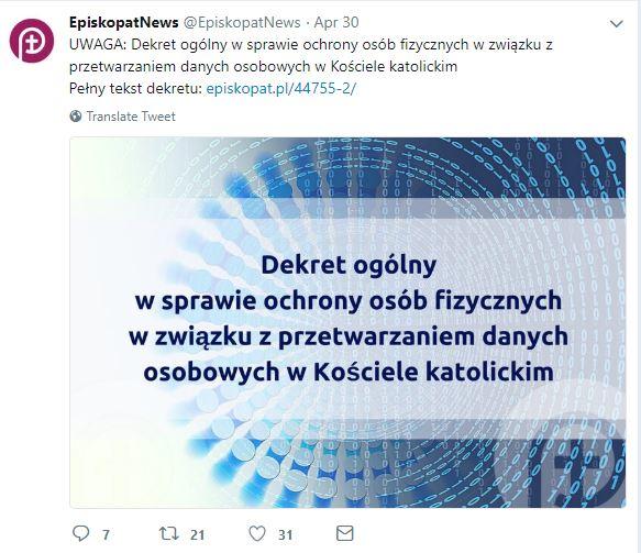 Kep Ogłosił Wewnętrzny Dekret O Kościelnym Giodo Wystappl